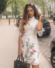 Zara Off White Embroidered Lace Dress Size S UK 8