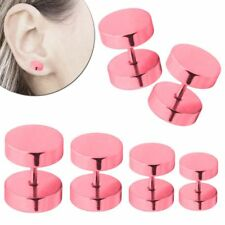 Fakeplugs Fake Plug Tunnel Piercing Ohrstecker Damen Rosa 6 8 10 12 mm Edelstahl