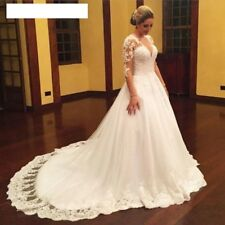 Long Sleeves Ball Gowns Wedding Dresses V Neck Lace Beaded Tulle Bridal Durable