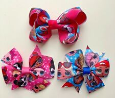 """Surprise Doll Hair Bows - 3 Designs - 3"""" Bows with clips"""