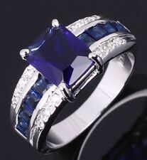 Mans Womans Jewelry Fashion Wedding Blue Sapphire Gold Filled Rings Size 8-11