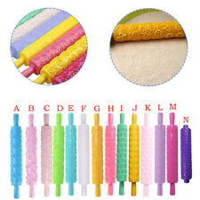 Embossed Rolling Pin Heart Pattern Fondant Pastry Cake Decorating Tool Kitchen L