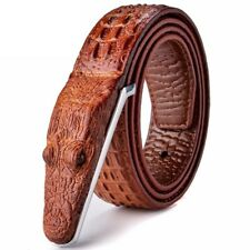 Crocodile Belt Faux Leather Smooth Buckle Designer Belt Men High Quality Classic