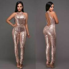 7edabd04e922 Ladies Sexy Golden Sequin Sleeveless Jumpsuit Catsuit Bodysuit Romper  Clubwear