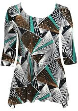 Womens 14-24 New Silver Polka Long Tops Pointed Hem Fab Casual Multicolour