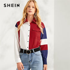 Multicolor Button & Pocket Up Color Block Top Casual Workwear Long Sleeve Shirt