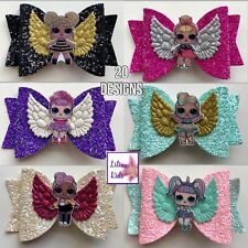 """Surprise Dolls Character Hair Bows - 43 Designs - 3.5"""" Glitter/Angel With Clip"""