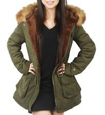 4How Parka Coat with Hood for Women Black Olive Green UK Size 10 12 14 16 18