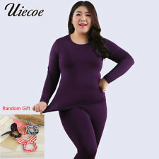 Autumn Winter Fleece Warm 2 Pieces Women Long Johns Large Size Slim Soft Thermal