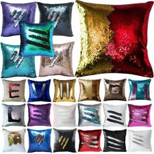 Color Reversible Mermaid Pillow Sequin Cover Glitter Sofa Cushion Case Double