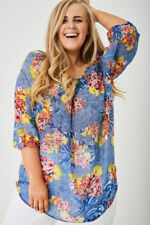 Ladies Plus Size Top Women Chiffon 3/4 Sleeve Loose Floral Casual Blouse Tunic