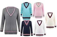 Womens Ladies Cable Knit V Neck Long Stretch Cricket Jumper Pullover Top 8-16