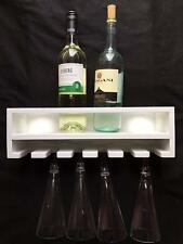 WHITE Wall Mounted Wine Rack 6 Bottles Champagne 10 Glass Holder Bar Accessory