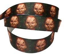 """Chucky Doll Horror Movie 1"""" Wide Repeat Ribbon Sold in Yard Lots"""