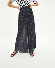 Zara Navy Blue Pleated Polka Dot Trousers Size S, M, L