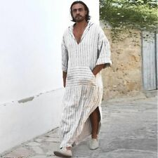 Men's T-shirt Ethnic Robes Loose Striped Long Sleeve Hooded Vintage Casual Dress