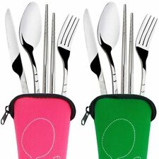 Camping Cutlery Tools Stainless Steel Fork Spoon Chopsticks Travel Camping Table