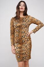 Long sleeve snake print faux suede bodycon dress size 8-14 brown OL casual