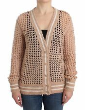 SIG11864 Ermanno Scervino Beige Crochet Cardigan Mohair Sweater Knit