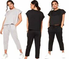 Womens Casual Top Co-ord 2pc Suit Short Sleeve Loungewear Set Ladies Round Neck