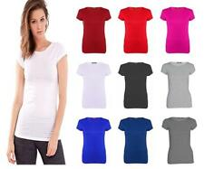 Women Plus Size Plain Cap Sleeve Fitted T-shirt Top