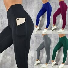 Women's Solid Workout Leggings Fitness Sports Gym Running Yoga Athletic Pants
