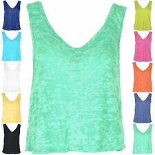 New Womens Ladies Burnout Muscle Vest V Neck Front V Back Tank Tee Top Plus Size
