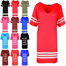 Womens American Varsity Stripes Ladies V Neck Oversize Baggy Mini Dress PJ Shirt