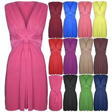Womens Ladies V Neck Bow Knot Sleeveless Ruched Stretchy Bodycon Midi Dress Top