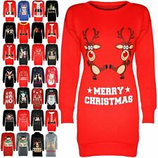 Womens Ladies Christmas Xmas Snowman Tree Sweatshirt Tunic Fleece Jumper Dress