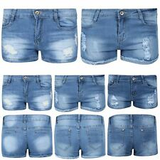 Ladies Raw Edges Hot Pants Womens Destroyed Distressed Ripped Faded Jean Shorts