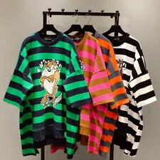 Printing Tops O-Neck Loose Female Pullovers Spring Striped Short Sleeve T-shirts