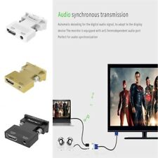 HDMI to VGA Adapter Cable Audio Video Converter for Laptop Monitor 1080P Dongle