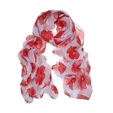 Red Poppy Scarf Print Long Scarves Flower Beach Wrap Ladies Stole Shawl Newly