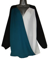 Plus size contrast wrap blouse with long sleeves