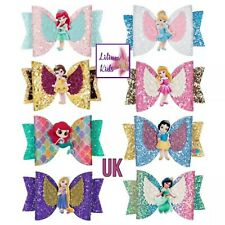 """Princess Character Hair Bows - 24 Designs - 3.5"""" Glitter/Angel Wing With Clip"""