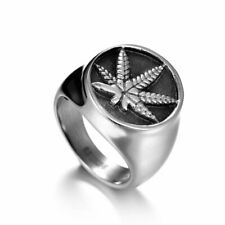 Stainless Steel Ice Out Weed Signet Ring RLW2049