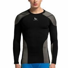 Men Quick Dry Tee Compression Fitness Exercise Gym Sports Long Sleeve T-shirt -L
