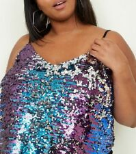 New Look CURVE Purple Ombre SPARKLY SEQUIN PARTY Top PLUS Size 16-22 be 70s 80s