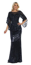 MOTHER OF THE BRIDE EVENING GOWNS SPECIAL OCCASION FORMAL LONG SLEEVE PROM DRESS
