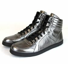 71879239a24 New Auth Gucci CODA Leather High-Top Sneaker Metallic Silver