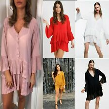 Womens Ladies V neck Plunge Ruffle Frill Pleated Button Mini Shirt Dress Top