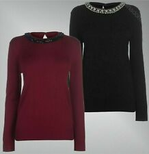 Ladies Branded Full Circle Long Sleeves Top Crew Neck Diamonte Jumper Size S-XL