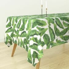 Tablecloth Banana Leaves Banana Leaves Watercolor Leaves Tropical Cotton Sateen