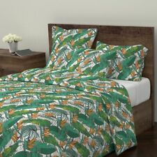 Tropical Leaves Tropical Summer Banana Leaves Eco Sateen Duvet Cover by Roostery
