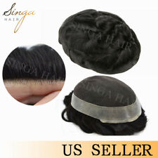US French Lace Mens Toupee Hair Replacement Poly System Breathable Hairpiece Wig