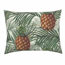 Pineapple Pineapple Fruit Tree Leaves Food Tropical Pillow Sham by Roostery