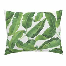 Banana Leaves Banana Leaves Watercolor Leaves Tropical Pillow Sham by Roostery