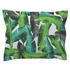 Leaves Green Banana Leaves Tropical Summer Banana Leaves Pillow Sham by Roostery