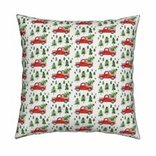Christmas Truck Winter Holiday Throw Pillow Cover w Optional Insert by Roostery